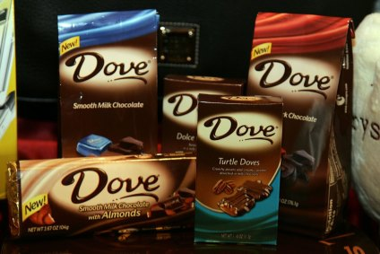 LOS ANGELES, CA - AUGUST 22: A years' supply of Dove Chocolate, one of the gifts to be given to presenters and performers at the 58th Annual Primetime Emmy's on August 27 at the Shrine Auditorium, is displayed August 22, 2006 in Los Angeles, California. (Photo by Frazer Harrison/Getty Images)