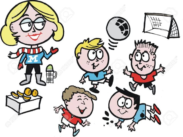 14231424-Vector-cartoon-of-soccer-mom-with-kids-playing-sport-Stock-Vector